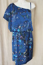 "Jessica Simpson Dress Sz 10 ""Firefly Patriot Blue"" One Shoulder Party Cocktail"