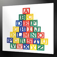 "ALPHABET BLOCKS KIDS DESIGN MODERN WALL ART CANVAS PRINT 12""x12"" FREE UK P&P"