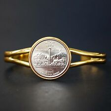 US 2007 Utah State Quarter Coin Gold Plated Cuff Bracelet - Beautiful