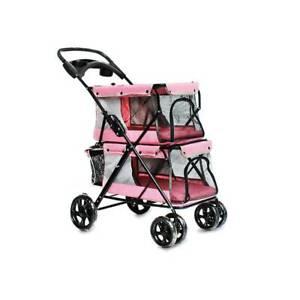 Small Dog Cat Stroller Travel Jogger Stroller Double Folding Carrier Pink