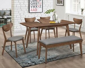 Mid Century Modern Walnut Veneer 6-Piece Dining Set With Extension Leaf Table