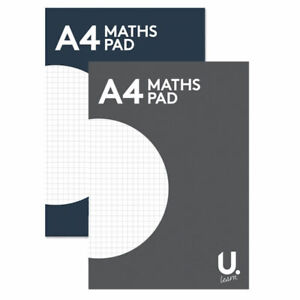 A4 Maths Paper - Quality Homework School Grid Page Squared Notepad Graph Kids