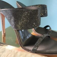 Pedro Garcia Camelia Size 38 Crystal Pave Bronze Satin Heels Sandals Wedding