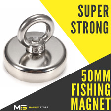 Super Strong Neodymium Recovery Fishing Magnet 50mm 80kg / 176lbs Pull Eyebolt
