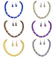 Blue Cream Brown Grey Pearl Crystal Diamante Bridal Dress Necklace Earrings Set