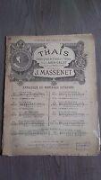 Thais J.Massenet Spartito Piano Heugel Parigi Be 2 Persiane+1 Foglio