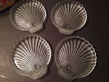 "Vintage Javit Crystal Shell Collection 7"" Salad Plates Set of 4 New!"