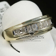 14k YELLOW GOLD SOLITAIRE GENUINE DIAMOND MENS ENGAGEMENT WEDDING RING BAND BOLD