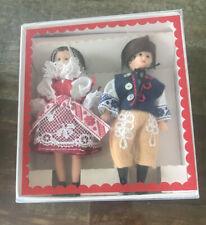 Lidova Tvorba Miniature Dolls ~ 2 dolls In Folk Costumes ~ Czech Republic NIB