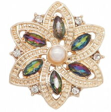 Gold Iridescent Rhinestone Pearl Flower 20mm Snap Charm For Ginger Snaps Jewelry