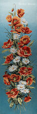 """43"""" WALL JACQ. WOVEN TAPESTRY Red Poppies & Daisies FLORAL DECOR - GOLDEN THREAD"""