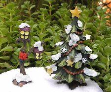 Miniature Dollhouse FAIRY GARDEN ~ Winter Woodland CHRISTMAS Tree & Lamp Post