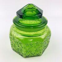 Vtg Large Green Glass Octagonal Cut Jar Star Design Ornate Lid Cookie Jar