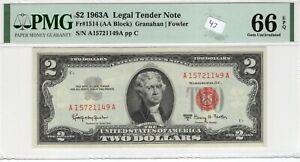 $2 1963A FRN Fr# 1514 AA Block PMG UNC Gem 66 EPQ Granahan Fowler