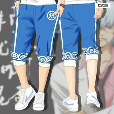 Hot Japan Anime Gintama Cosplay Shorts Pants Casual Cropped Trousers Size M-2XL