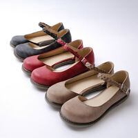 Women Buckle Ankle Strap Mary Jane Shoes Round Toe Ballet Flats Flat Dress Shoes