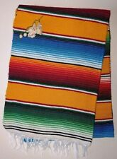 "Mexican Serape Blanket Yellow Rainbow colors with white fringe Aztec 82""X 62"""
