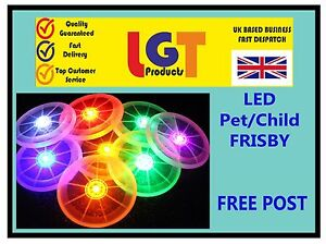Flying LED Light Up Frisbee Outdoor Multi Colour Toy Pet Dog Children Fun Frisby