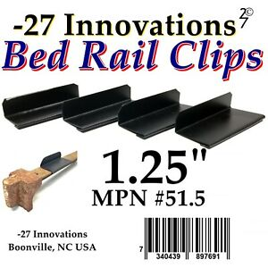 4 CLIPS Antique Flat Top Rail Iron Bed-Box Spring/Mattress CONVERSION KIT 1.25""