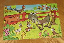 1978 MB Farm Series Childrens Puzzle Animals Goat Pig Rabbit Rooster Duck Birds