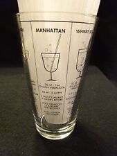 Vintage Libby Barware Coctail Recipe Tumbler Mixed Drink Clear Glass