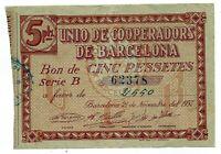 Unio Cooperadors de Barcelona 5 Pesetas  @ Barcelones - Barcelona @
