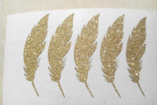 gold glitter feathers stickers party decor wedding envelope seals silver sparkle