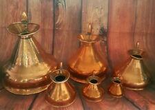 Victorian Antique set of 6 graduating copper haystack measure jugs.HR lead seals