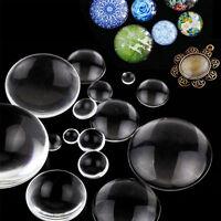 Lots Transparent Clear Round Flat Glass Cabochon DIY Scrapbooking Craft Decor