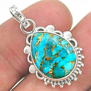 7.96cts Blue Copper Turquoise Pear 925 Sterling Silver Pendant Jewelry T35776