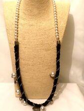 Womens Long Black Cream Beaded Faux Pearl Necklace Christian Love Heart Pendant