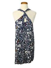 Edme & Esyllte Dress Anthropology Navy Blue White Multi Color Print Lined Rayon