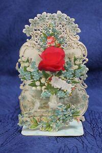 alte Kulissenkarte mit Rose Taube Maiglöckchen