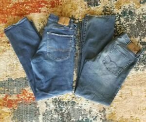 (2) AMERICAN EAGLE OUTFITTERS AE Men's Blue Jeans 32x34 Bootcut Relaxed Stretch