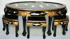 oriental furniture Black lacquer oval coffee table with figurines decoration