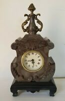 "Antique French Style Small  Marble Clock 10"" Tall"