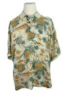 Tommy Bahama Mens XXL 100% Silk Hawaiian Polo Shirt Short Sleeve Pineapple Ivory
