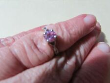 925 Silver ring size 6 - pink gemstone - needs cleaning/polishing