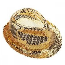 Gold Sequin Trilby Hat - Bugsy Malone Fancy Dress - Dance Costume