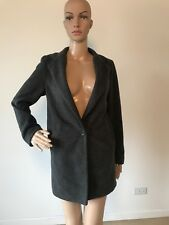 Tom & Rabbit Dark Gray Coat Long One Button Jacket Quilted Lining Korean F S/M