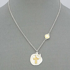 Silver Chain Hammered Plate Matte Gold Cross Pearl Horse Shoe Pendant Necklace