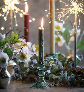Sarah Raven Harlequin Glass Candlestick In Vintage Green, Brand New