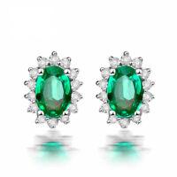 Women 925 Sterling Silver Emerald Green Vintage Antique Style Stud Earring IE25