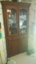 Corner Cabinet-Many Uses-2 Glass Doors-Drawer &2 Wooden Doors-Euc!-Pick Up Only!