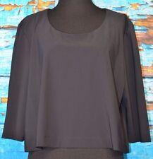 Heide Ost Size 3 M/L Cropped Black Blouse 3/4 Sleeve Top Flowy Lagenlook U Neck