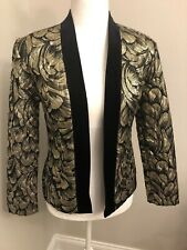 Vintage Tom Bedzuda for Barad & Co. Designer Evening Jacket Gold Black Quilted