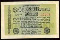 ALLEMAGNE  10 millions de   mark    22 / 8 / 1923  ( uniface )