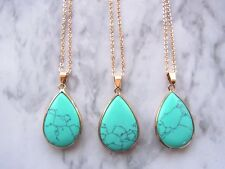 Turquoise Stone Natural Stone Pendant Necklace Rose Gold Plated Necklace Gift