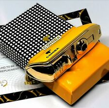 24ct Gold Plated Cohiba Electric 3 Jet Gas Turbo Cigar Windproof Lighter Jet 24k