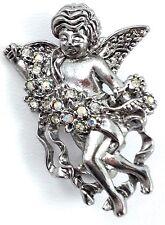 Silver Angle Cherub pin Crystal Silver Pin Brooch